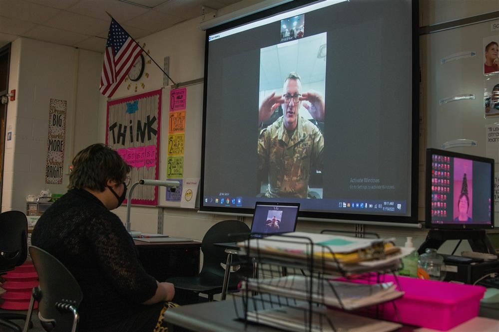 Center Grove Middle School North students interview Major Sutton virtually for Veterans Day