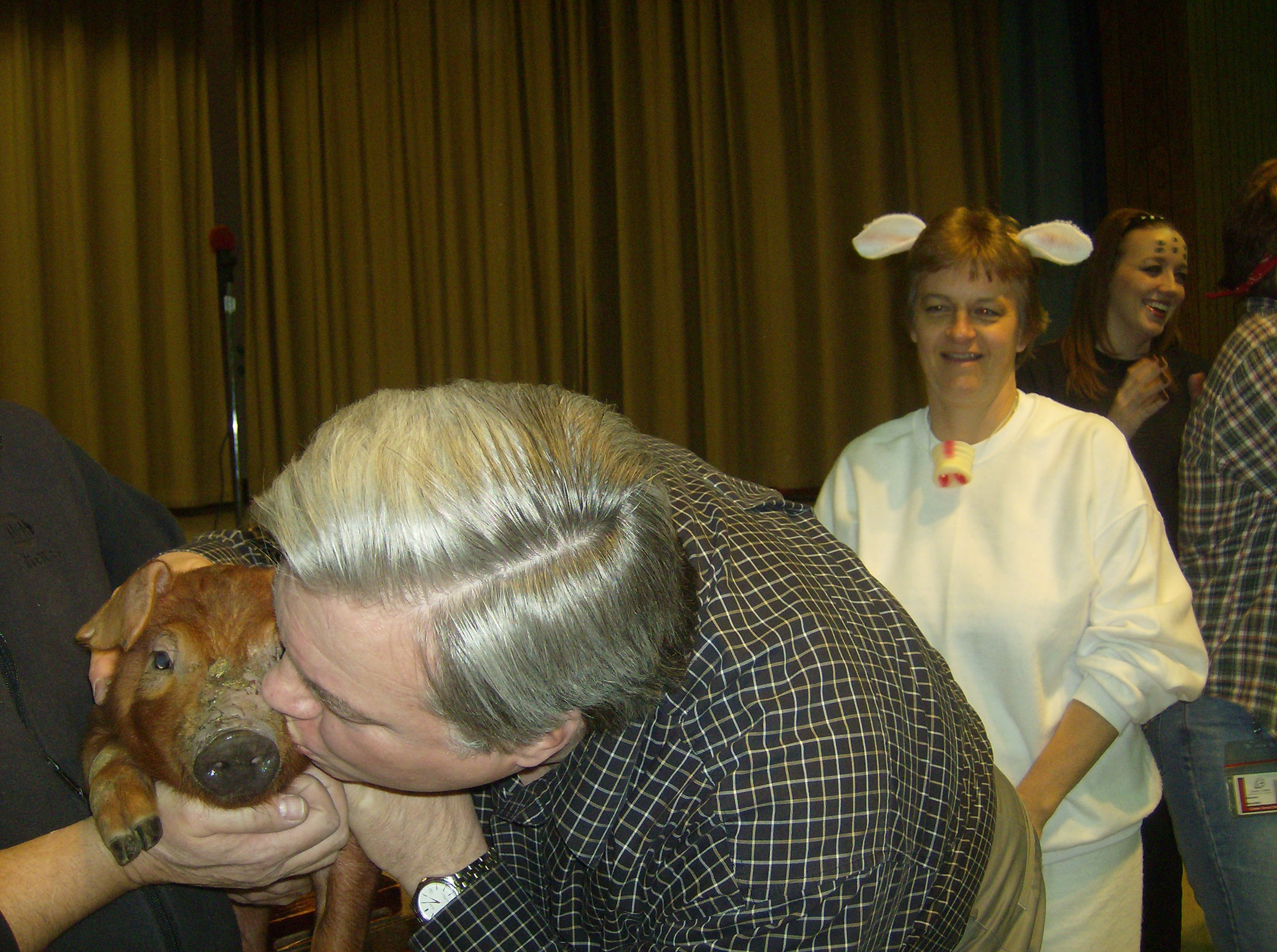 Mr. Haddix kisses Pig